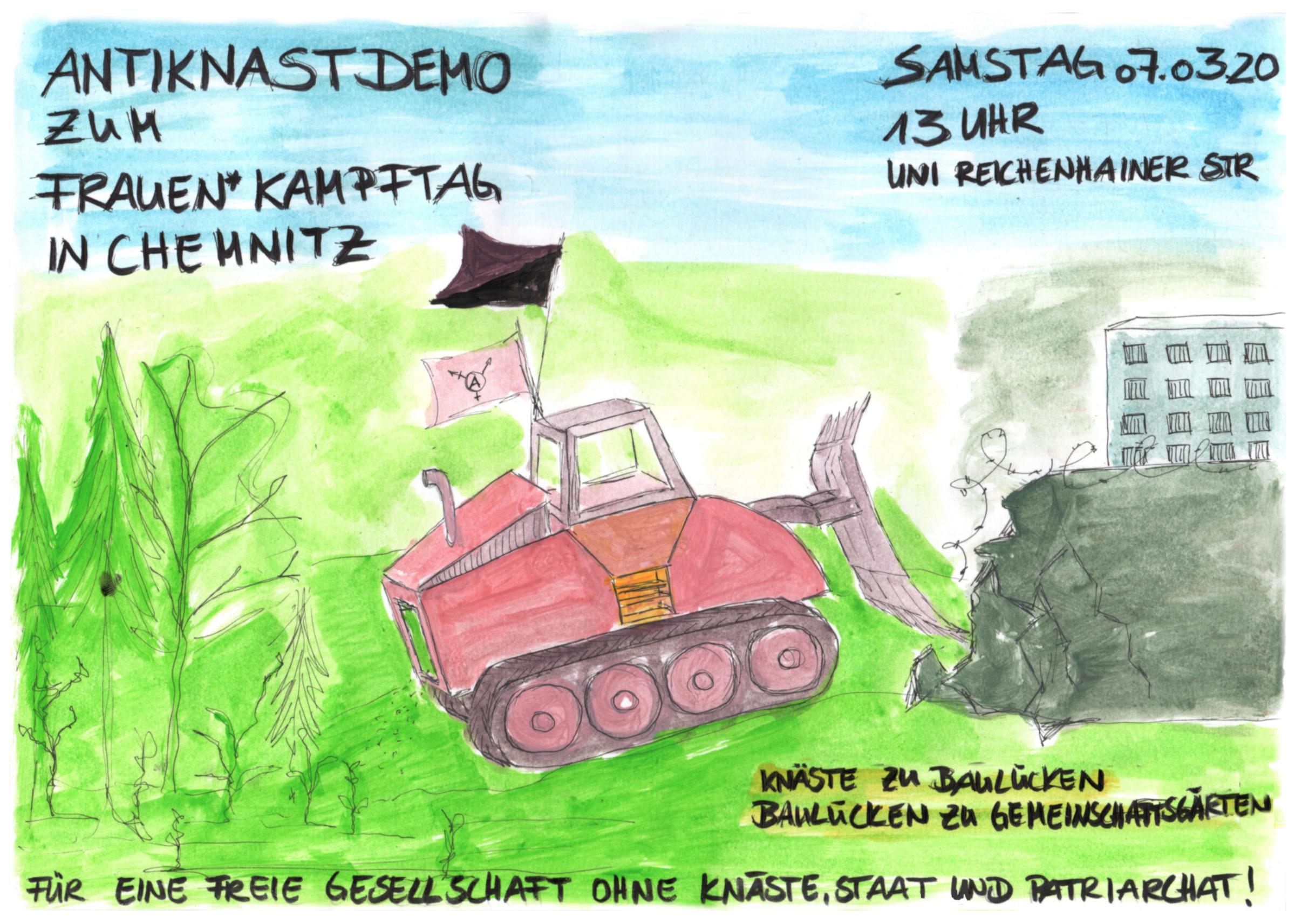 Demonstration für eine freie Gesellschaft ohne Knäste, Staat und Patriarchat – 7. März Chemnitz