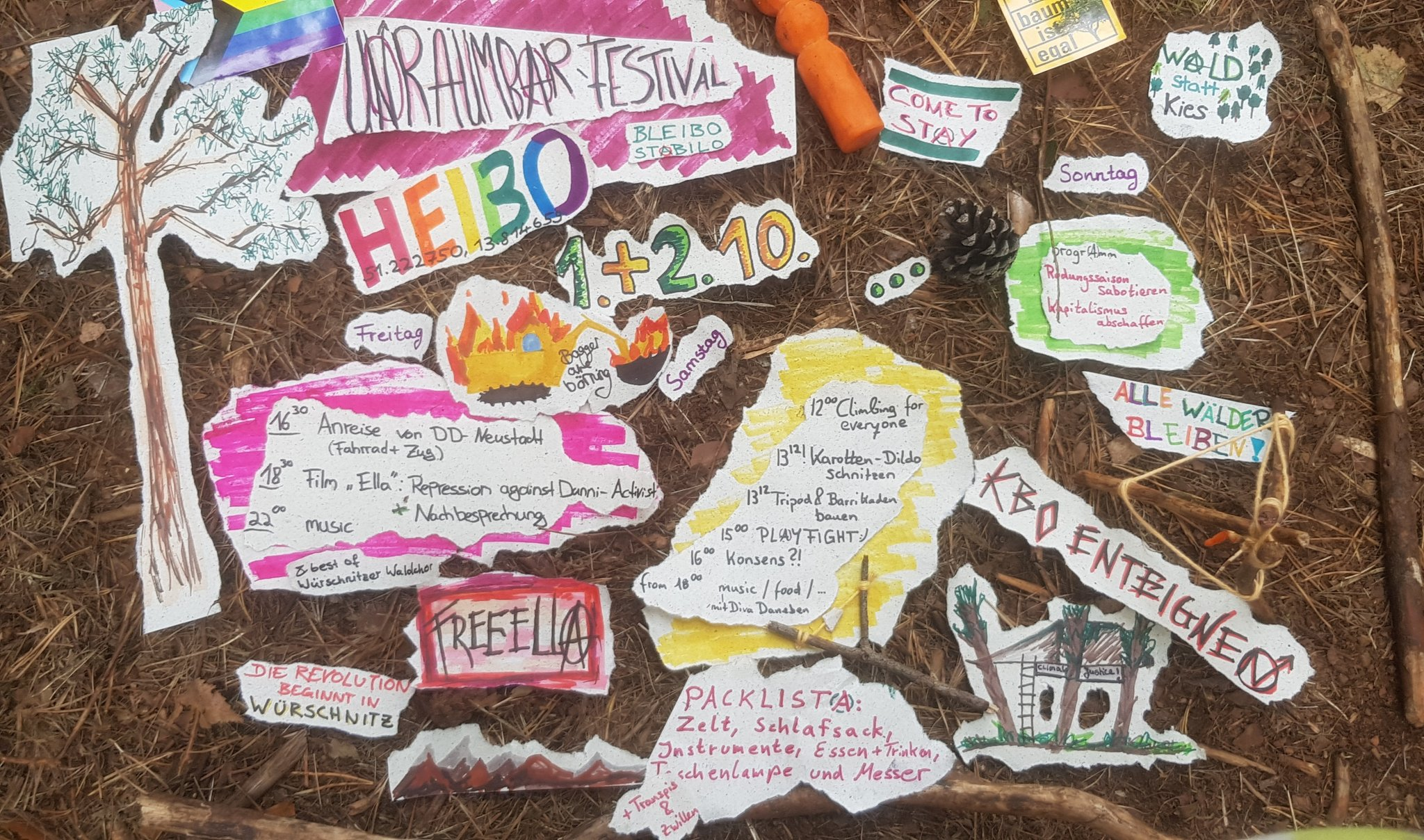 "Friday, 01.10.- Sunday 03.10. – ""UNRÄUMBAR""-Festival in Heibo – Soli-film for Ella"